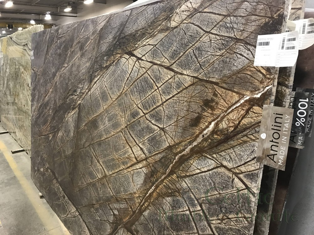 Marble – Rain Forest Brown Leathered slab-min