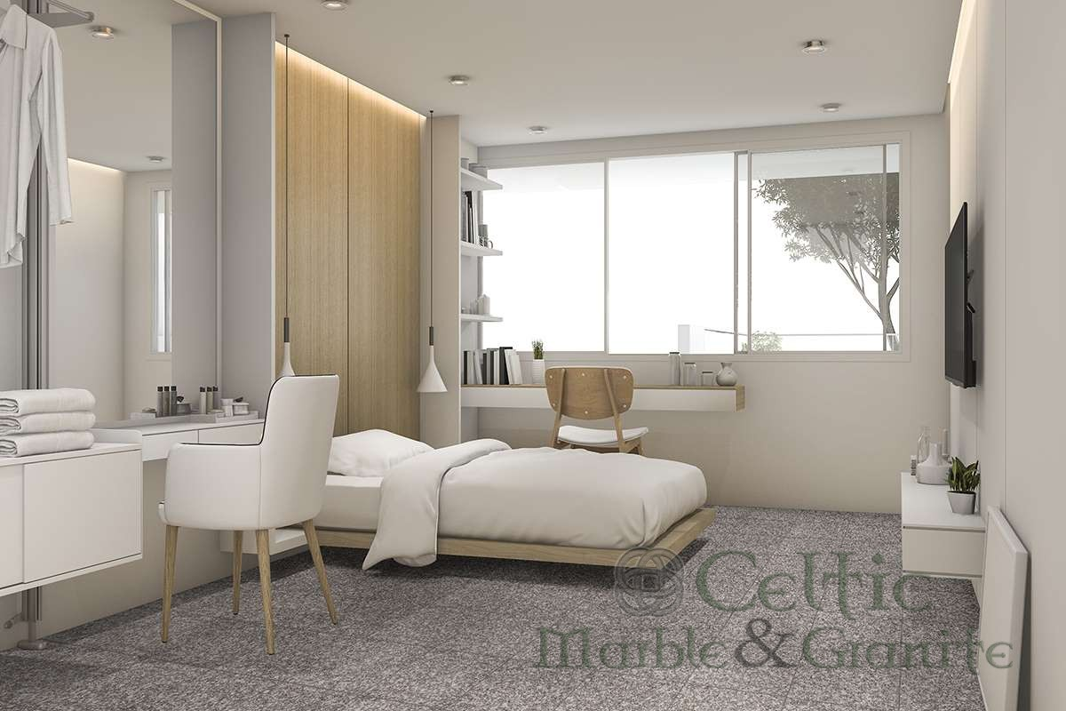 3d rendering white bedroom with make up table near walk in closet